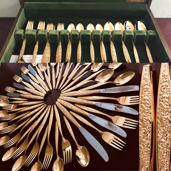 Vintage Gold Flatware, Oneida Golden Tangier original chest, service for 8, serving pieces, elegant gold plated Flatware Wedding gift