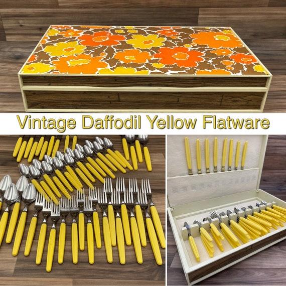 Vintage Stainless Flatware set Yellow Plastic Handles, Retro Silverware Rustic Cabin Vintage Trailer Camping outdoor entertaining
