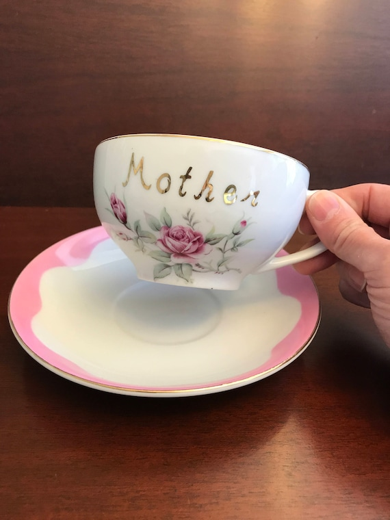 Vintage Coffee Cup, Lefton Pink Roses china cup saucer, Mother Cup saucer, Extra Large Coffee Cup, Latte Mug, Gift for Mom, Mothers Day Gift