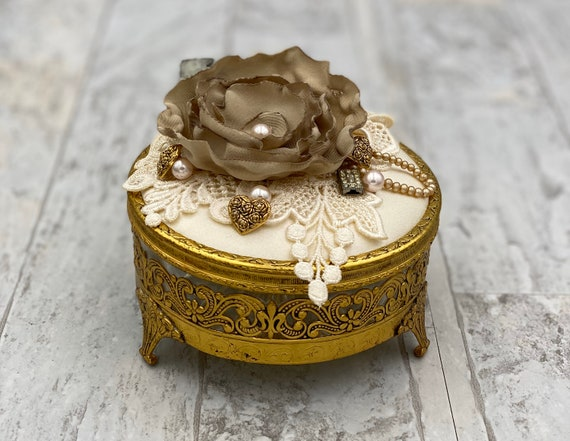 Vintage Handmade Jewelry Box Gold plated Trinket Box, upcycled Wedding Box Gift for Her Valentines Day Decor