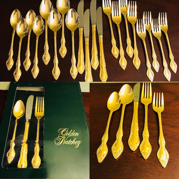 Vintage Gold Flatware, Golden Natchez, Gold Electroplate Flatware, Rogers Silverware, 5 piece service for 4, Hollywood Regency, gift for Her