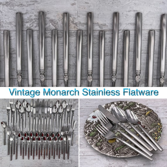 Vintage Stainless Flatware set, National Stainless Monarch Silverware, service for 8