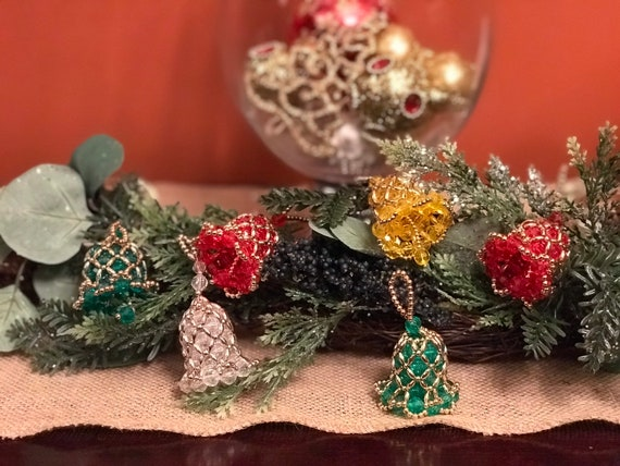 Vintage beaded Bell shaped Ornaments, Handmade Christmas Ornament Ornament exchange