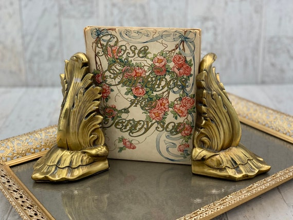Vintage Gold Bookends, PM craftsman Hollywood Regency Gold Gilt Bookends Library Gift for her