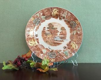 Vintage Transferware China dinner plate Nasco Mountain woodland China plate Buffet Dinner plates