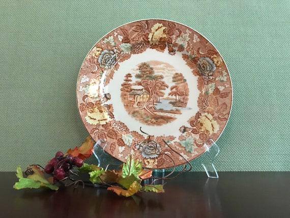 Vintage Transferware China dinner plate Nasco Mountain woodland China plate Buffet Dinner plates