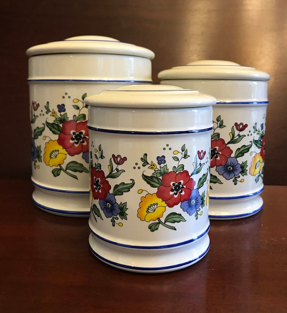 Vintage Stoneware Canisters Painted Floral by R.B. Bernarda, Wildflower Stoneware Canister set, Cottage Chic, Made in Portugal, Gift for her