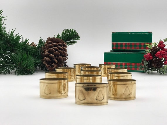 Vintage Solid Brass Napkin Rings with embossed trees, Scottish Plaid 12 piece set, Holiday dinner Napkin Holders,