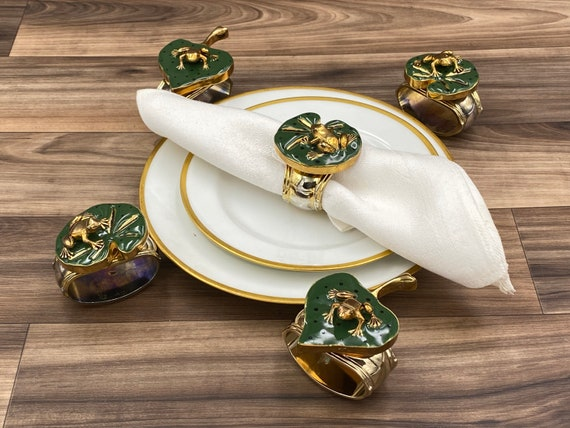 Designer Frog Napkin Rings, Signed Hans Turnwald napkin rings, 5 piece set, Gift for Her