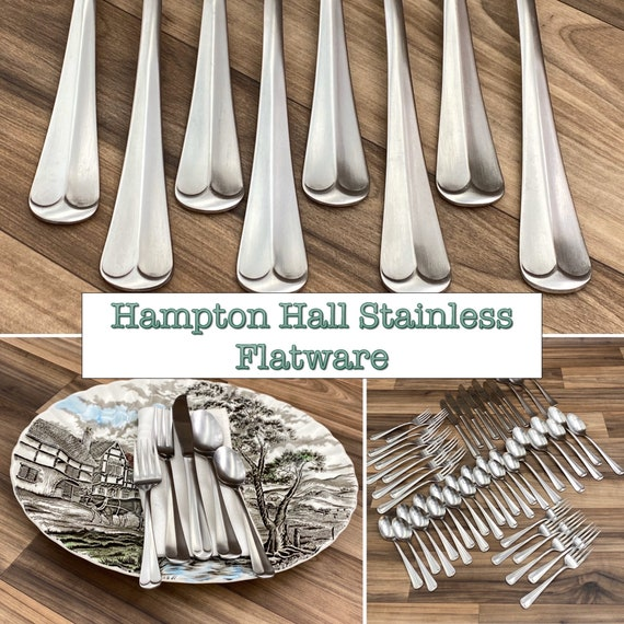 Vintage Silverware set, Tipped Handles, Hampton Hall in New Excellent Condition Rustic Home Decor, Colonial style