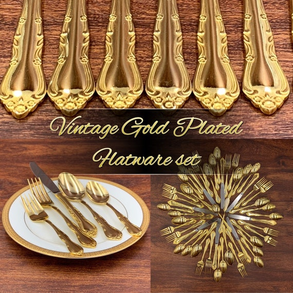 Vintage Gold Flatware set, Floral Scroll Gold Electroplate Flatware, 5 piece service for 8, Hollywood Regency gift for her