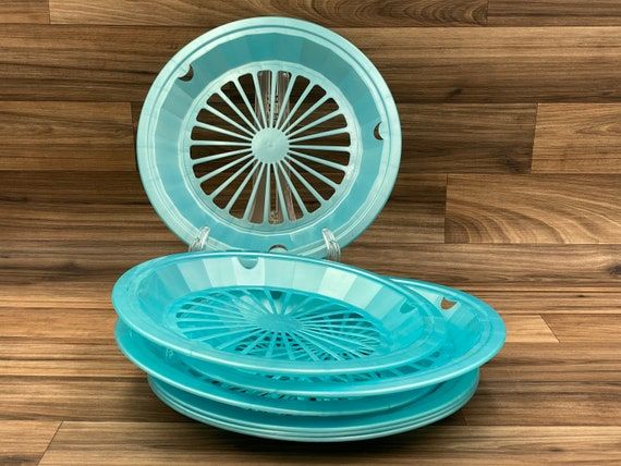 Vintage Paper Plate holders, Retro set of Turquoise Plastic Plate Holders, picnic plate holders