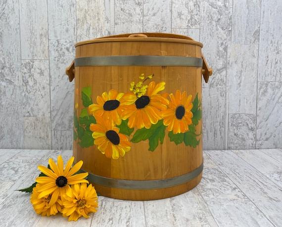Hand painted Wood Bucket with Handle, Large Vintage Wooden Pail Basket, Basketville Rustic Farmhouse decor