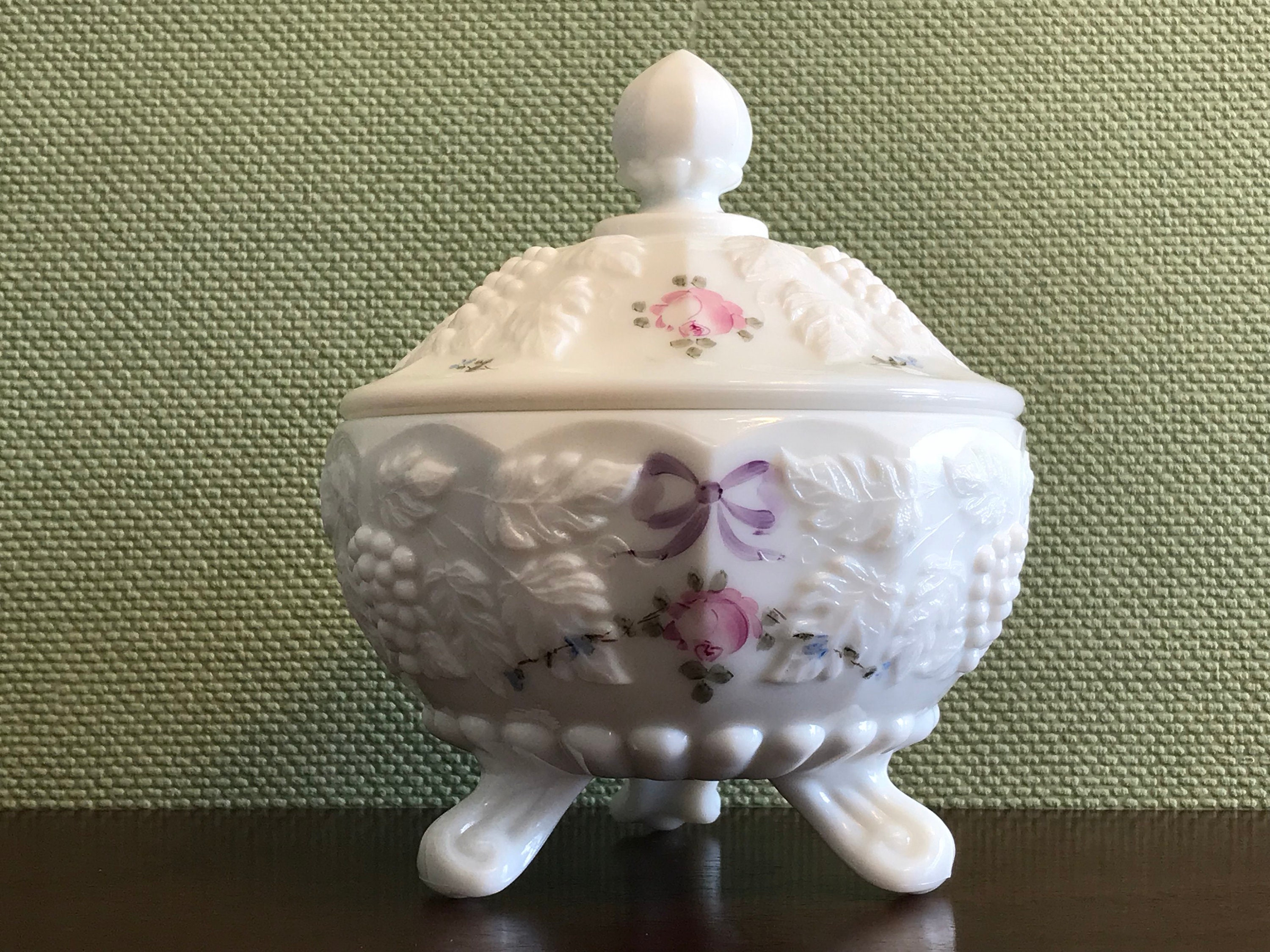 Vintage Milk Glass candy dish with lid, Hand painted ...