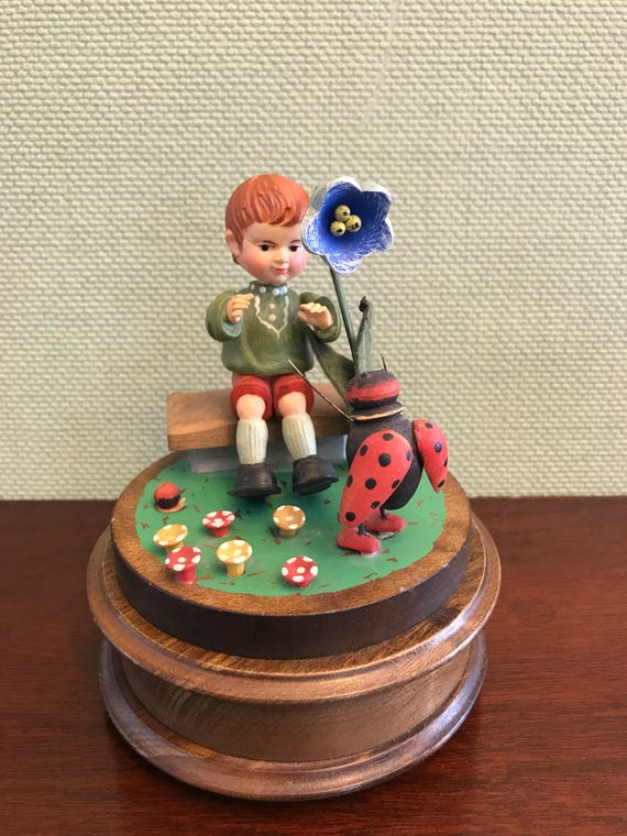 Vintage Reuge Music Box with Boy on bench Figurine, Handpainted Carved Music Box, EJB Music Box, Song Holiday in Switzerland