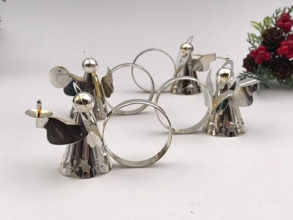 Vintage silver plated Angel napkin rings, Set of 4 Christmas Napkin rings musical angel napkin ring set