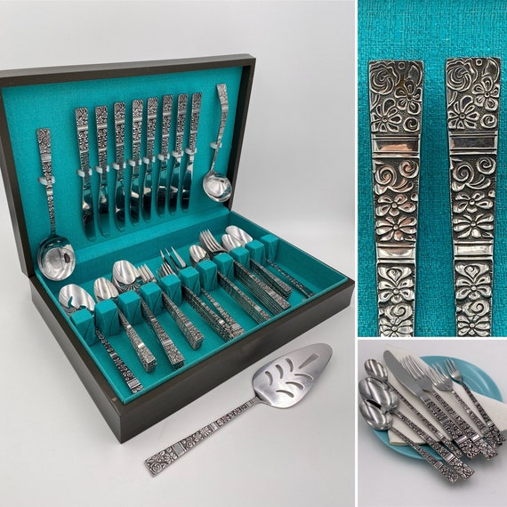Vintage Flatware Set, MCM Floral Stainless Silverware Set by Towle Supreme Cutlery with Silverware Chest