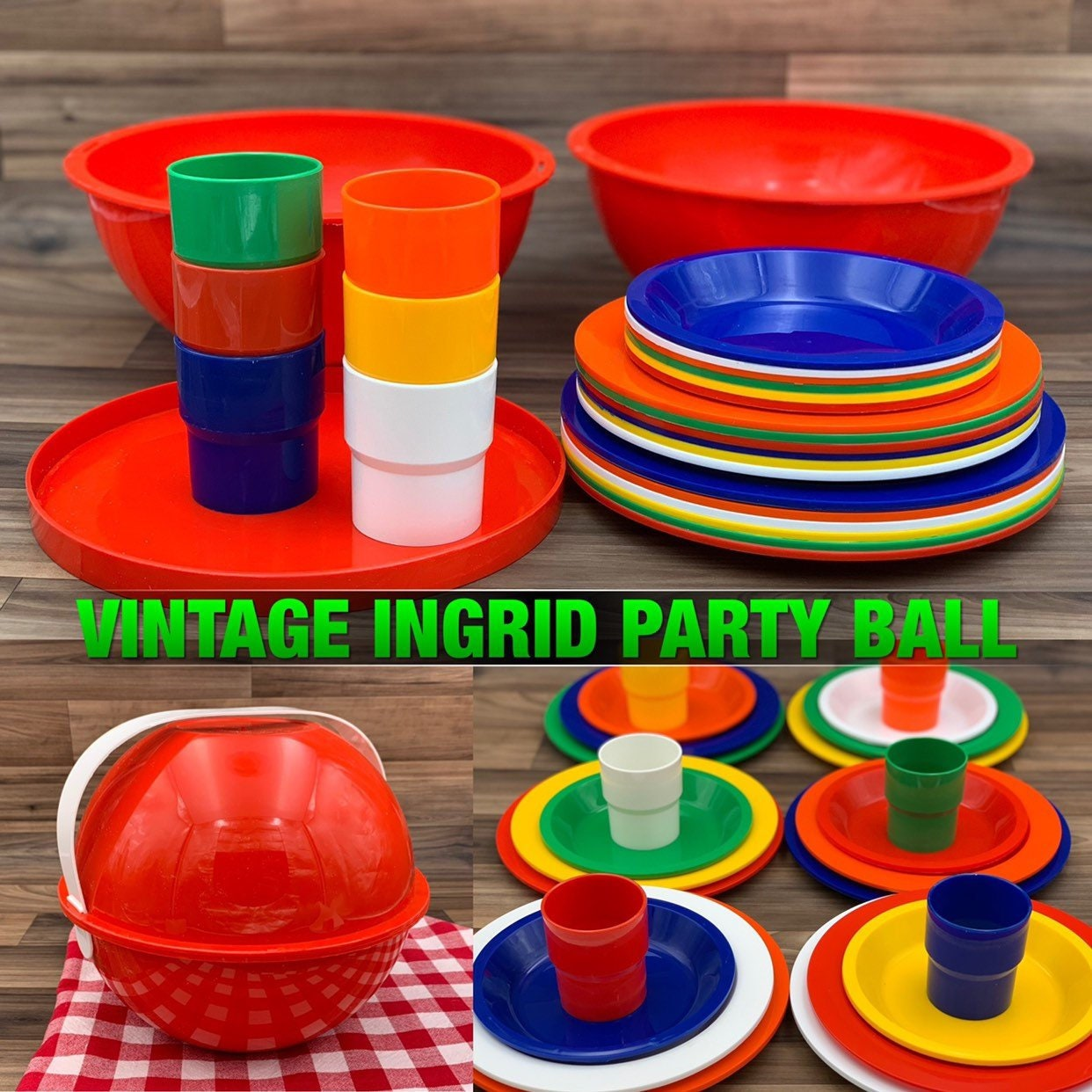 Vtg Ingrid Party Pack 6 Mugs//6 Plates Bright Colors With Original Box Used