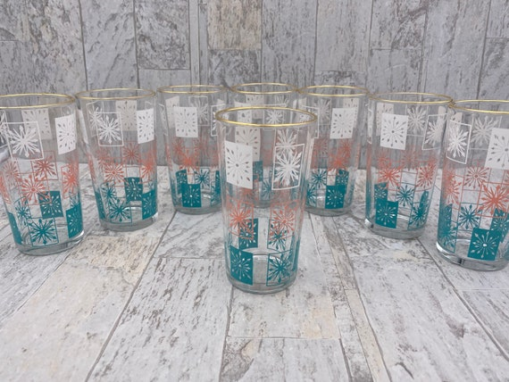 Mid Century Atomic Tumbler Glasses, Turquoise Pink White, Estate collectible Drink ware Gift