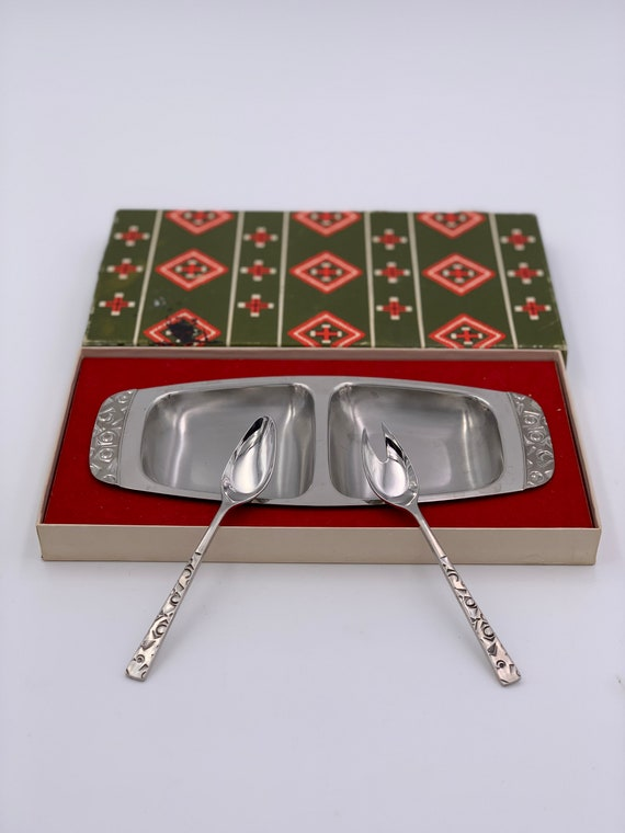 Vintage Condiment Serving Tray gift set Navaho by International Silver Foodie Gift