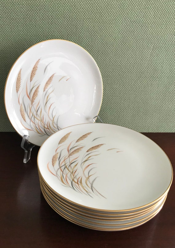 Vintage Royal Jackson Angelus Parisienne China Salad plates Wheat Grass pattern with Gold trim 8 Salad plates