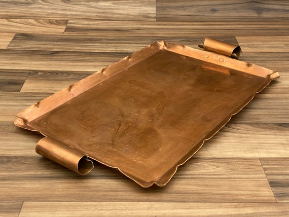 Vintage Copper Serving Tray, Crimped edges with rolled handles, Rustic Home Decor, Country Kitchen, Cabin Lodge