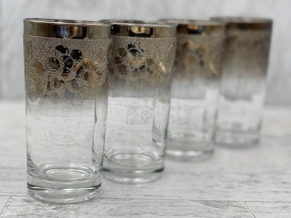 Vintage Silver Band glasses, grape pattern MCM Drinkware tumblers