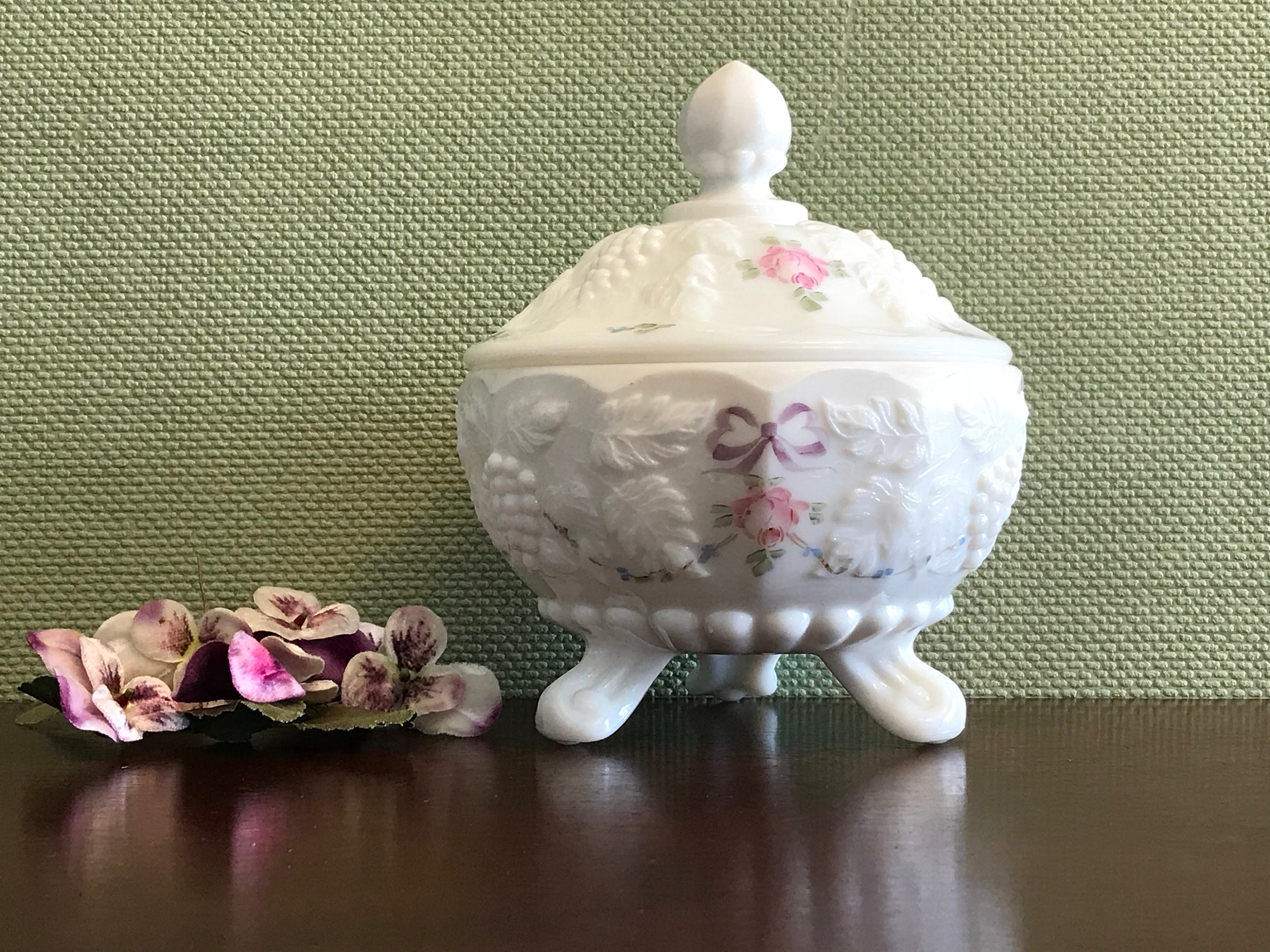 Vintage Milk Glass Candy Dish With Lid Hand Painted Roses And Bows