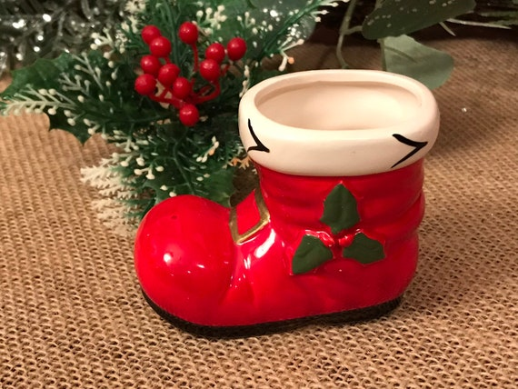 Vintage Lefton Santas Boot Christmas toothpick holder, miniature Boot Christmas decoration