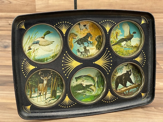 Vintage Serving Tray, Wildlife Drink server, Rustic Home Decor, Cabin Lodge, Gift for him