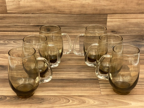 Smoke Glass Tankard Mugs, Vintage Libbey glasses, Mid Century drink ware, Gift for him