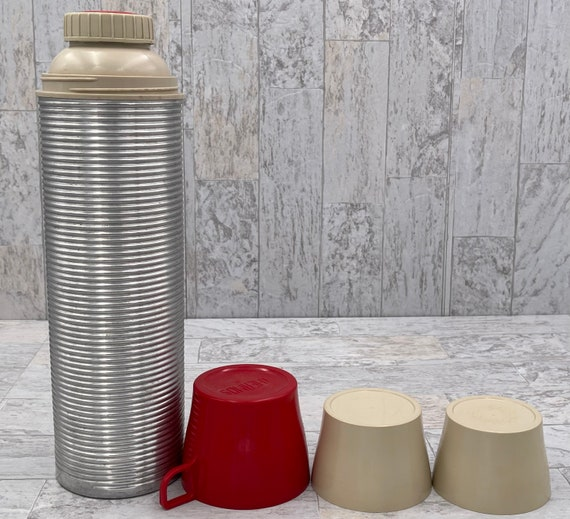 Vintage Thermos Bottle, Picnic Thermos Bottle, ribbed aluminum Thermos, Collectible Thermos, industrial decor