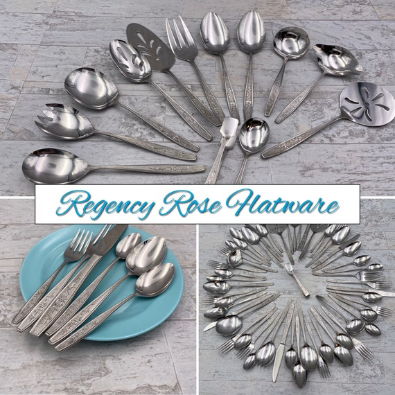 Vintage Stainless Flatware Set, Regency Rose, Service for 6, Rose Pattern Silverware set, classic flatware, Spiegel catalog