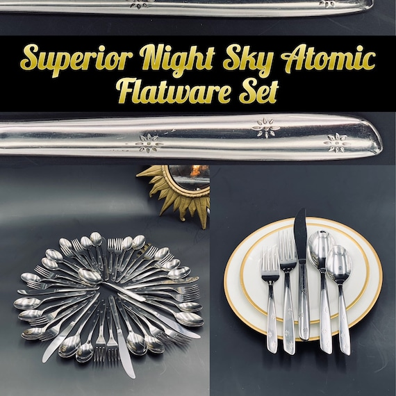 Atomic Star Flatware set Superior Night Sky Stainless Flatware, Mid Century Celestial Flatware, Vintage Silverware Set