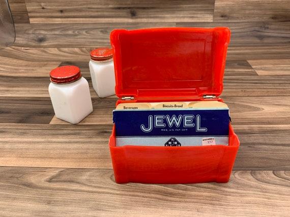 Vintage Red Plastic Recipe Box, Recipe card file Art Deco Kitchen Storage