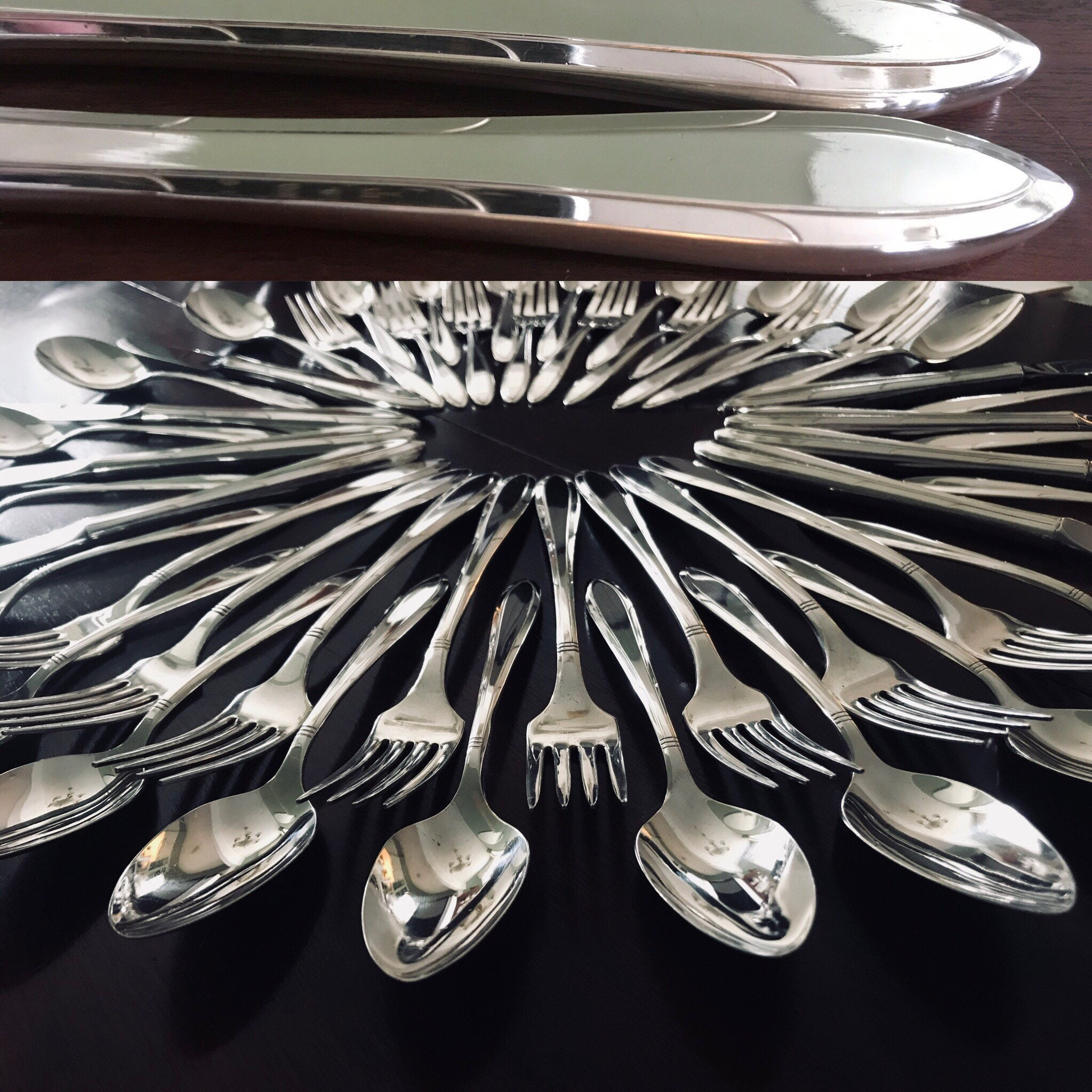 Silverware Wedding Gifts: Vintage Flatware Set With Silverware Chest, Service For 8