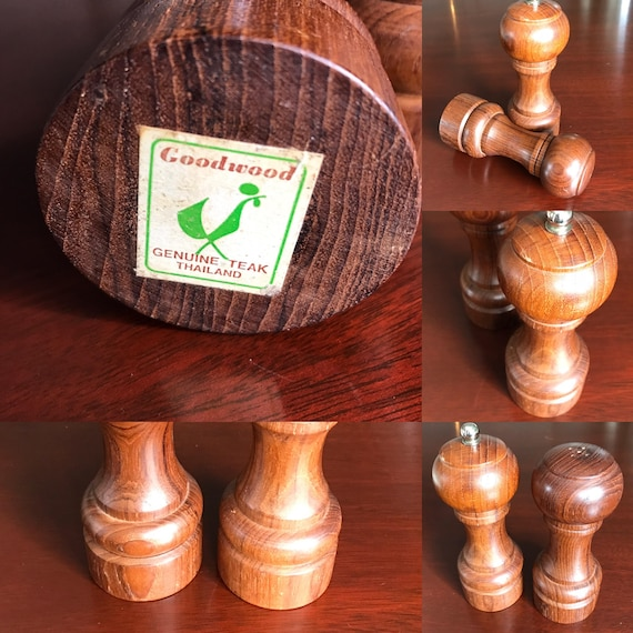 Vintage Teakwood Salt Pepper Shakers, Pepper grinder, Goodwoods Genuine Teak, Turned wood salt and pepper set, hostess gift, Foodie Gift