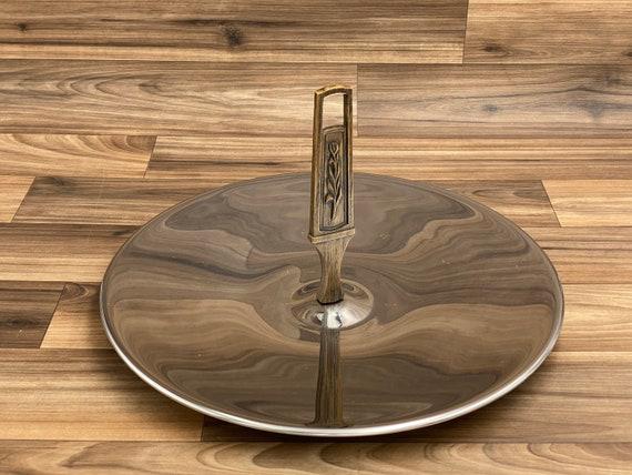 Vintage Kromex Serving Tray, Mid Century Chrome Tray, large Wood Handled Metal Serving tray, Tidbit Tea Appetizers