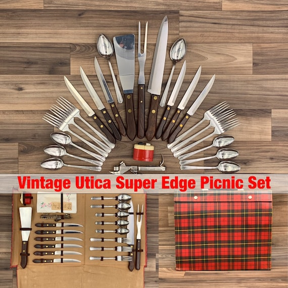 Vintage Picnic Set Utica Stainless Flatware set Super Edge Knife set Service for 6 Picnic Camping Glamping Rustic Cabin