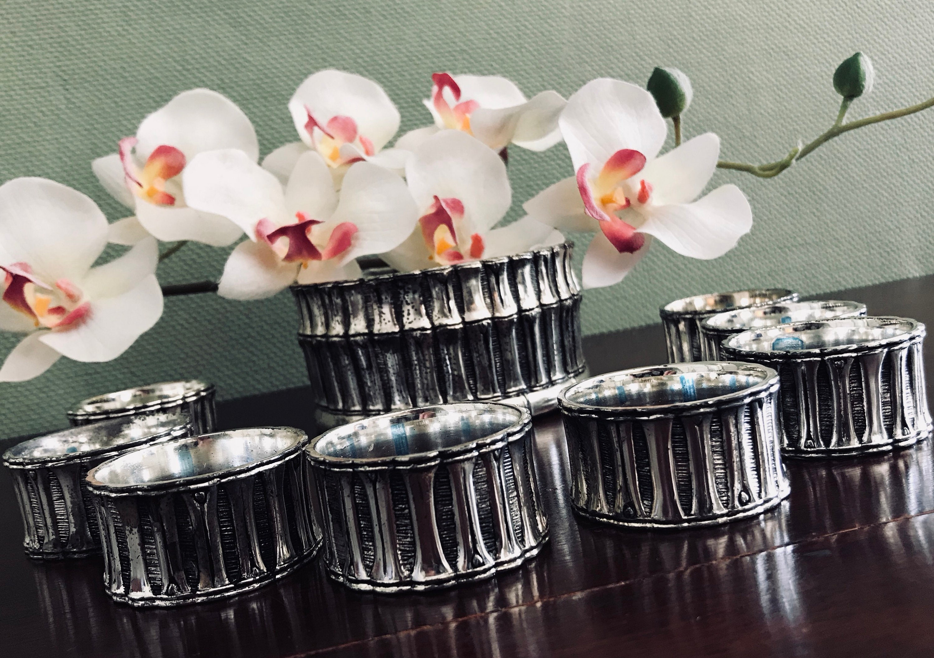 Bamboo Napkin Rings And Centerpiece Silver Plated Napkin Rings Matching Centerpiece Asian Vintage Napkin Rings Dinner Party Table Scape