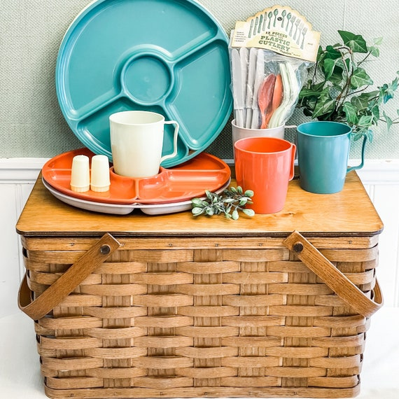 Vintage Picnic Basket, Handmade wooden basket with dishes included, Picnic Camping Glamping Rustic Cabin