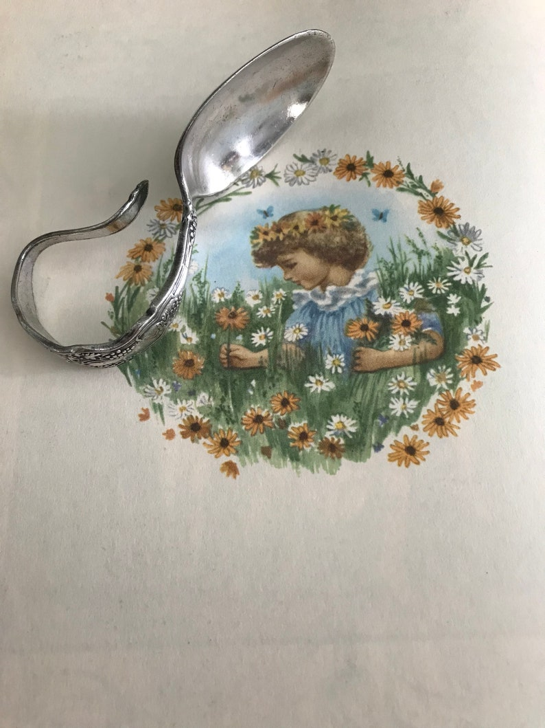 Antique Silver Baby Spoon Curved handle baby spoon shower gift Baby Gift Vintage pattern flatware baby utensil Silver plated flatware