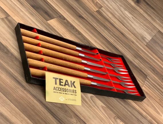 Vintage Fondue Forks Teakwood Danish Modern, Set of 6 fondue forks, Fondue Party forks