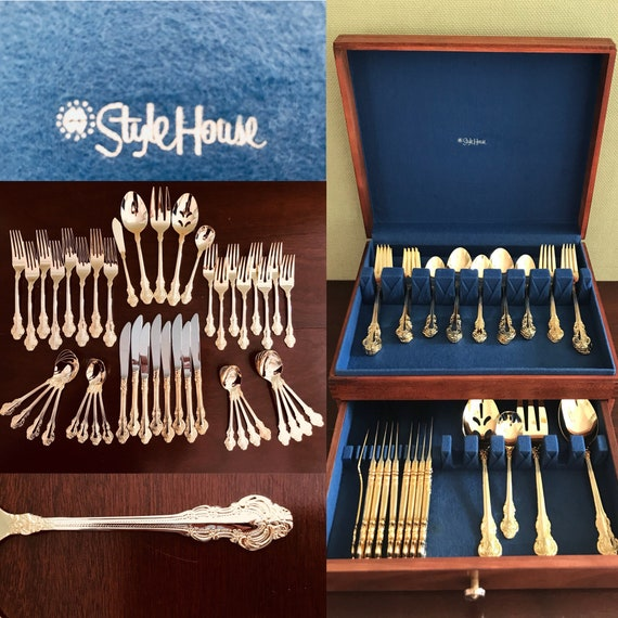 Vintage Gold Plated Flatware set, Mint Gold Royal Fashion by Cambridge Silver, Service for 8 with Hostess set Stylehouse wood chest