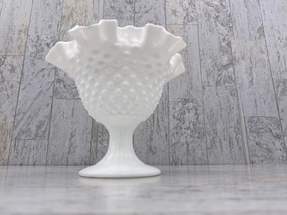 Vintage Candleholder Compote, Fenton Hobnail Milk Glass, Collectible gift for her