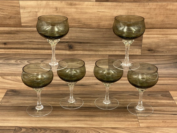 Vintage Coronation glasses by SASAKI, Smoke Glass Drink ware, set of 6, small coupe stemware, Mid Century
