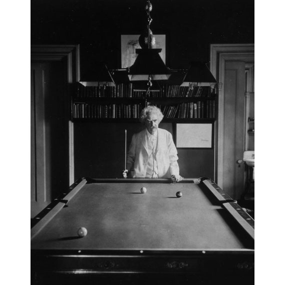 Mark Twain Plays Billiards Quality Reprint Of A Vintage - How To Mark Out A Pool Table