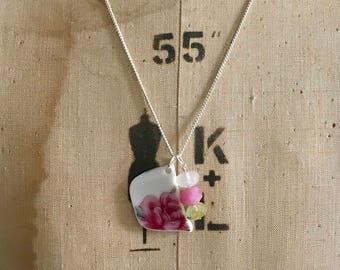 Pink Rose Pendant- Handmade Ceramic Necklace- Broken China- Vintage China Pendant- Quartz Beads- Shabby Chic- Ceramic Jewellery- Vintage
