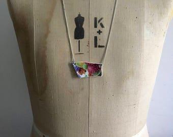 Vintage China Pendant- Bib Necklace- Strawberry Necklace- Broken China- Ceramic Necklace- Handmade Jewellery- Upcycled Ladies Necklace,