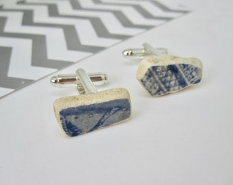 FATHERS DAY GIFT- Blue China- Unique Mens Cufflinks- Vintage China Cufflinks- Ceramic Cufflinks- Sea Pottery- River Thames Pottery- Vintage